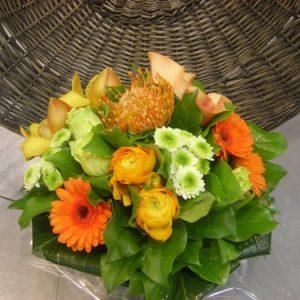 bouquet-rond-orange-panier